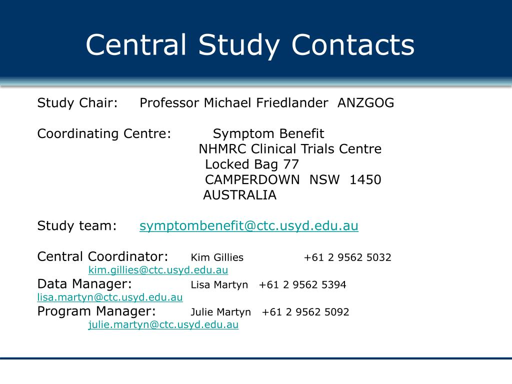 Central Study Contacts