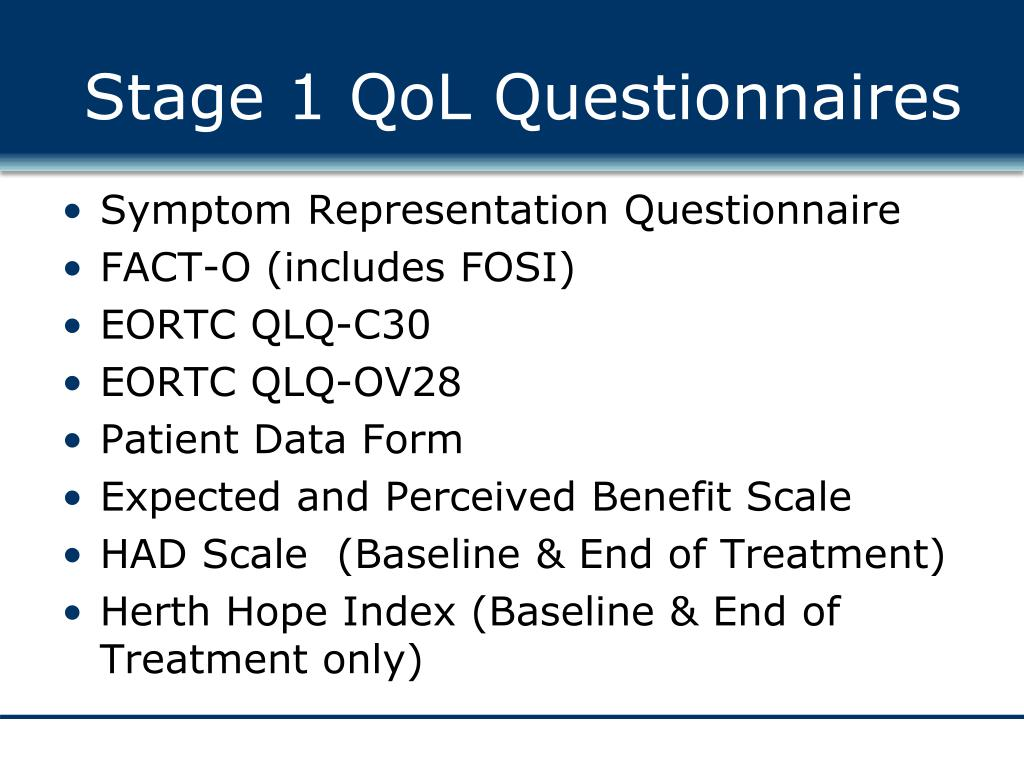 Stage 1 QoL Questionnaires
