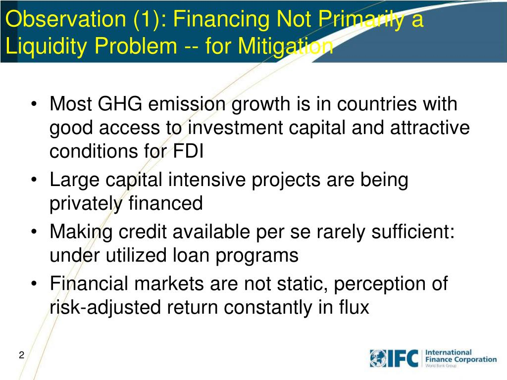 Observation (1): Financing Not Primarily a Liquidity Problem -- for Mitigation