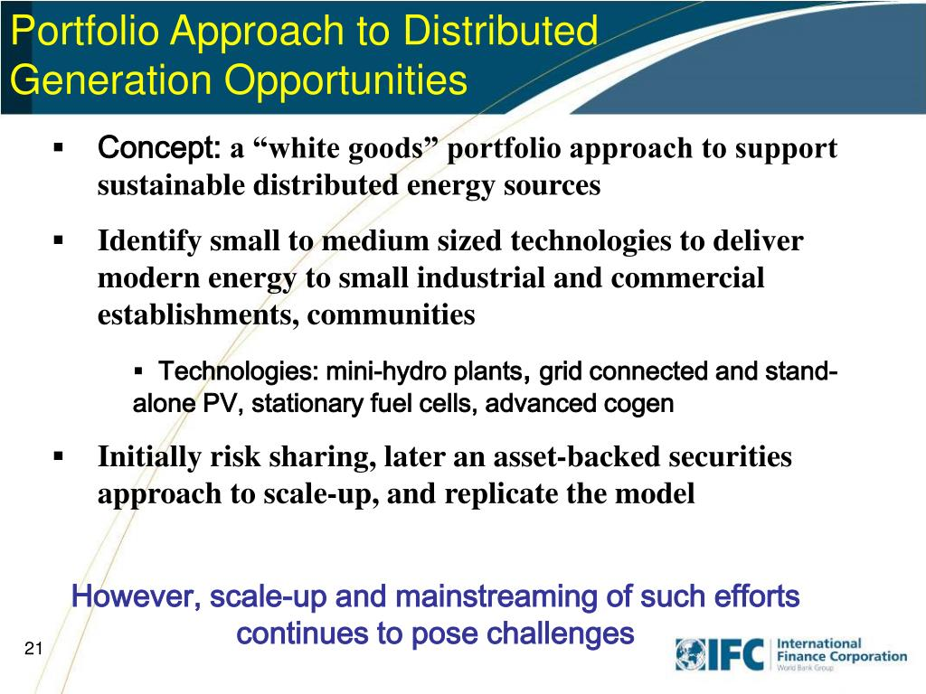 Portfolio Approach to Distributed Generation Opportunities
