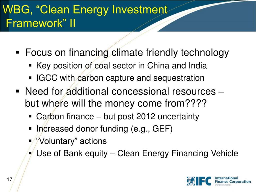 """WBG, """"Clean Energy Investment"""