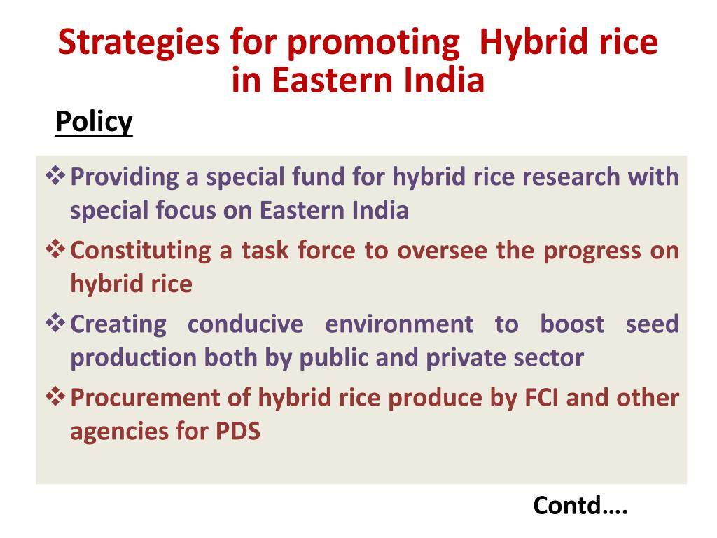 Strategies for promoting  Hybrid rice in Eastern India