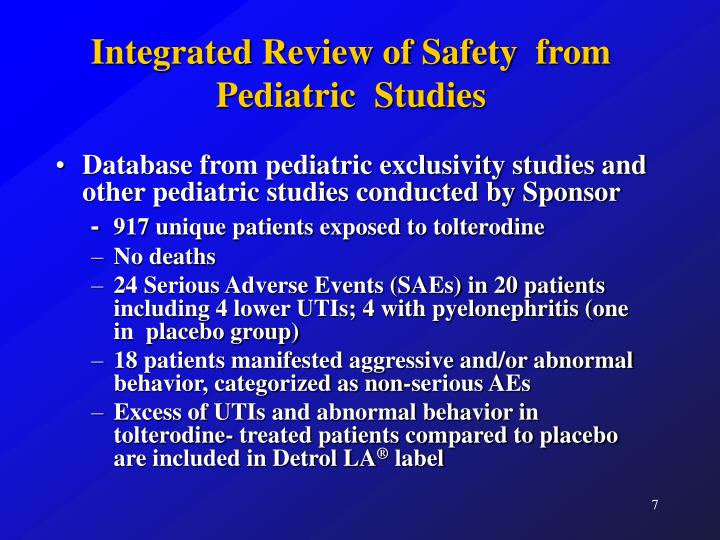 Integrated Review of Safety  from Pediatric  Studies