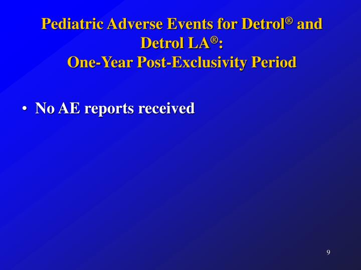 Pediatric Adverse Events for Detrol