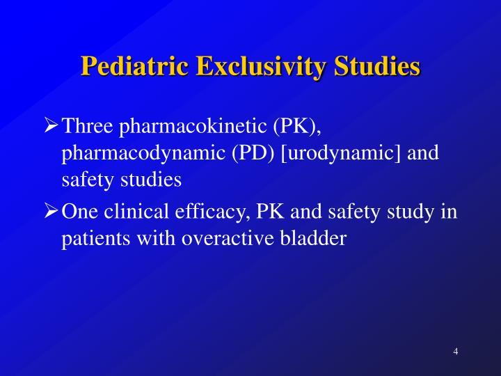 Pediatric Exclusivity Studies