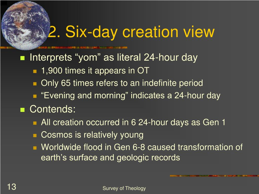 2. Six-day creation view