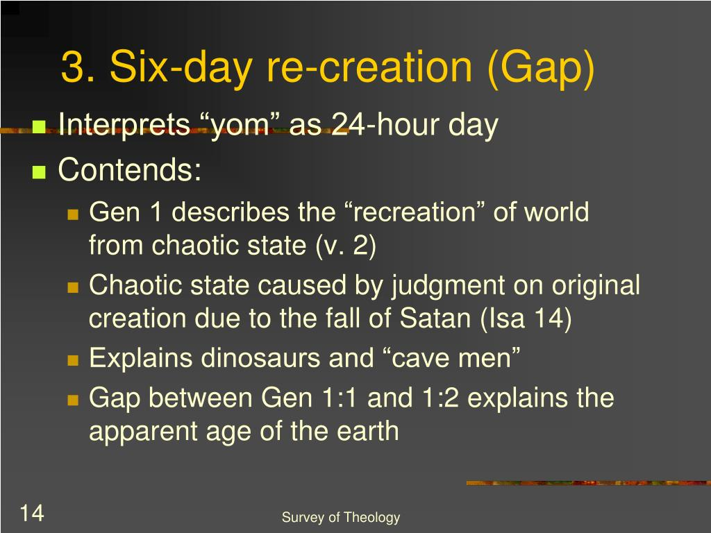 3. Six-day re-creation (Gap)