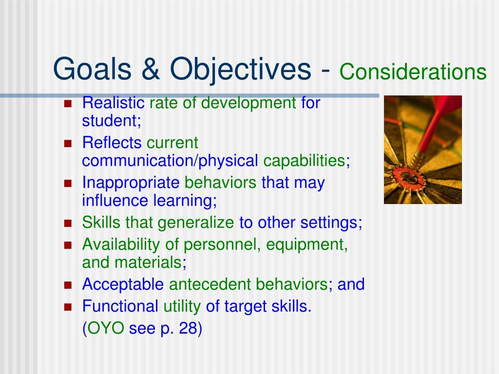 Goals & Objectives -