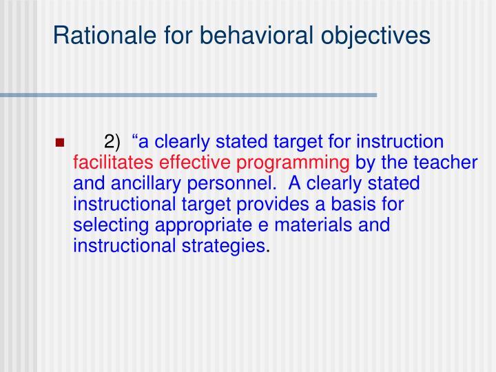 Rationale for behavioral objectives3