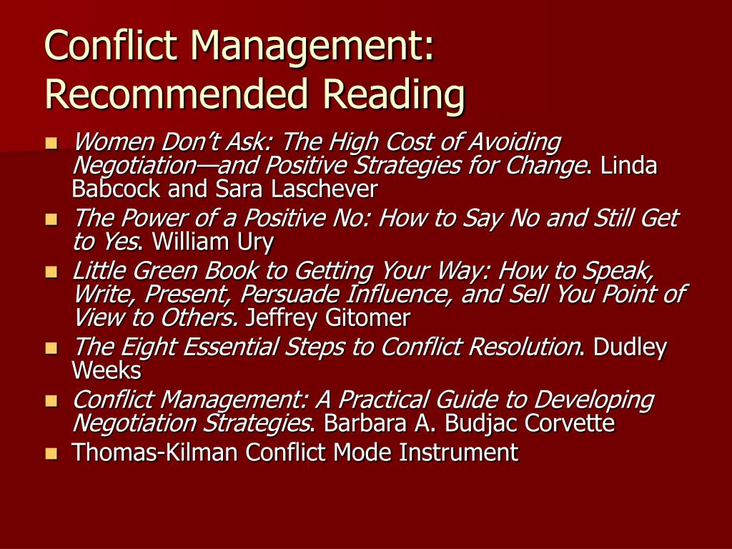 Conflict Management: Recommended Reading