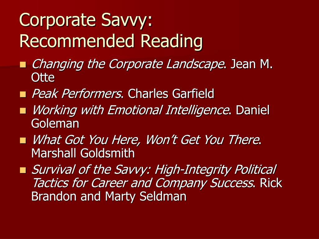 Corporate Savvy: