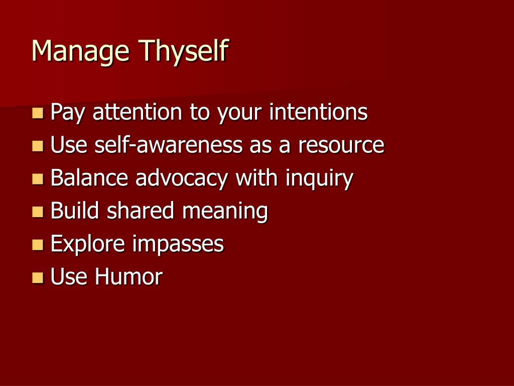 Manage Thyself