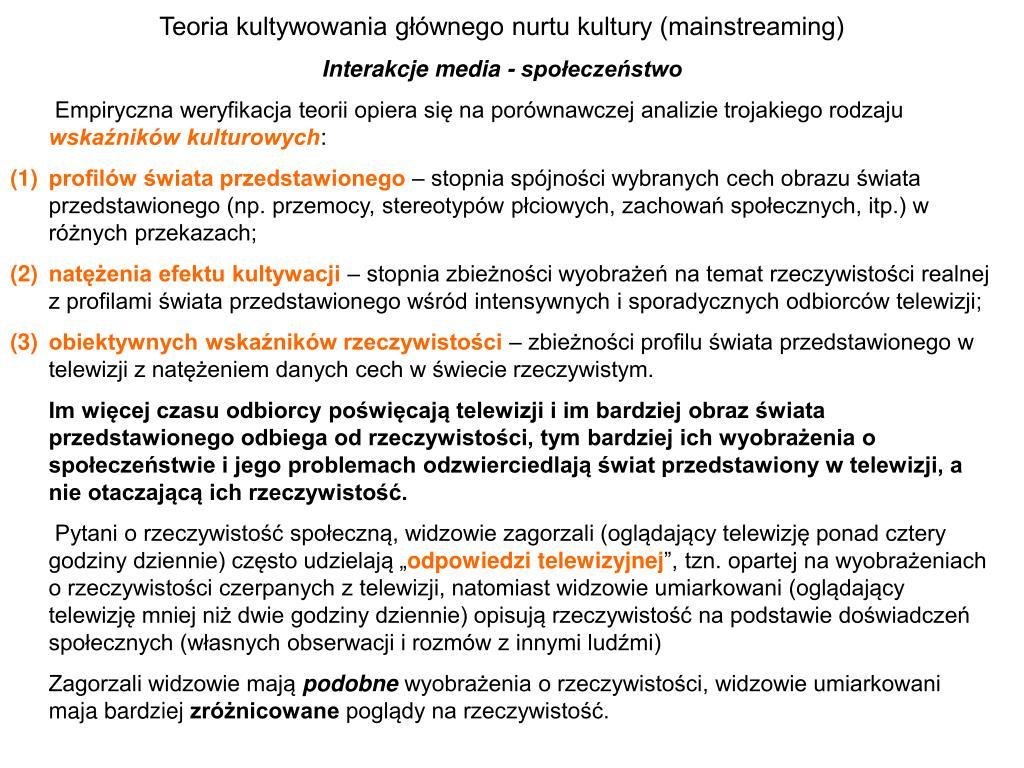 Teoria kultywowania głównego nurtu kultury (mainstreaming)