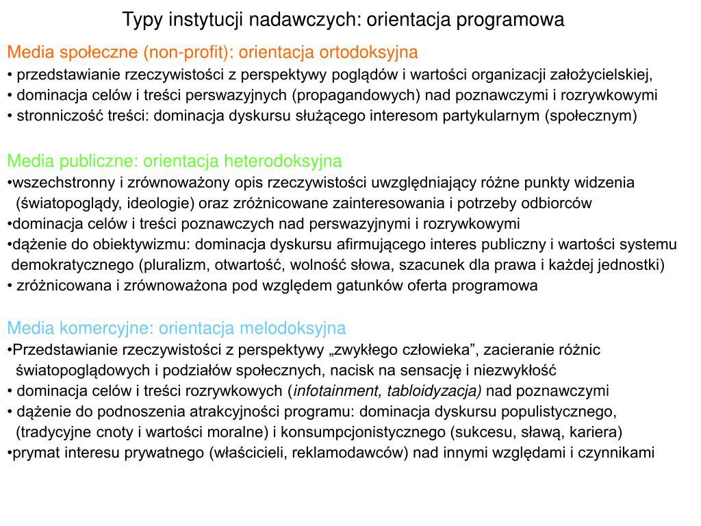 Typy instytucji nadawczych: orientacja programowa
