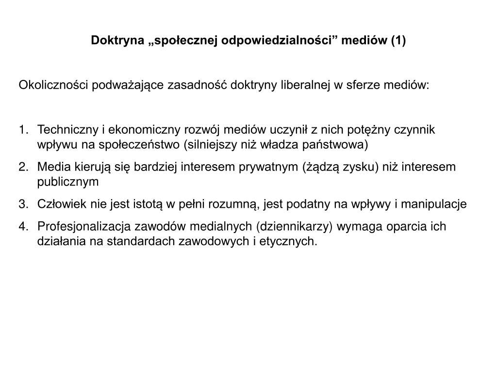 """Doktryna """"społecznej odpowiedzialności"""" mediów (1)"""