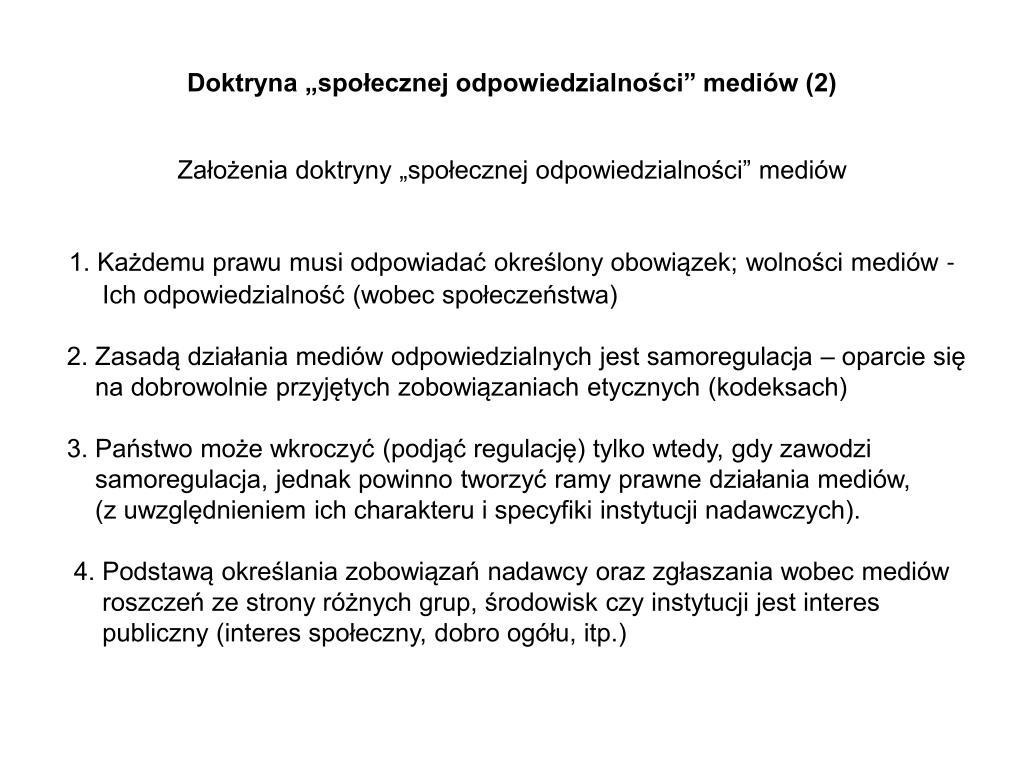 """Doktryna """"społecznej odpowiedzialności"""" mediów (2)"""