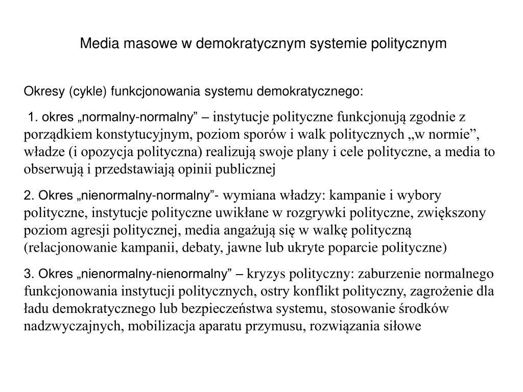 Media masowe w demokratycznym systemie politycznym