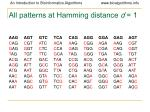 all patterns at hamming distance d 1