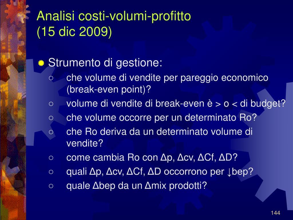 Analisi costi-volumi-profitto