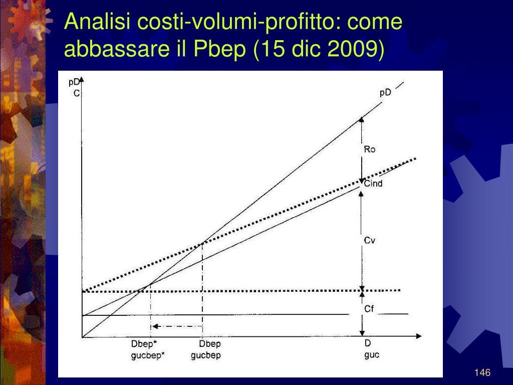 Analisi costi-volumi-profitto: come abbassare il Pbep (15 dic 2009)