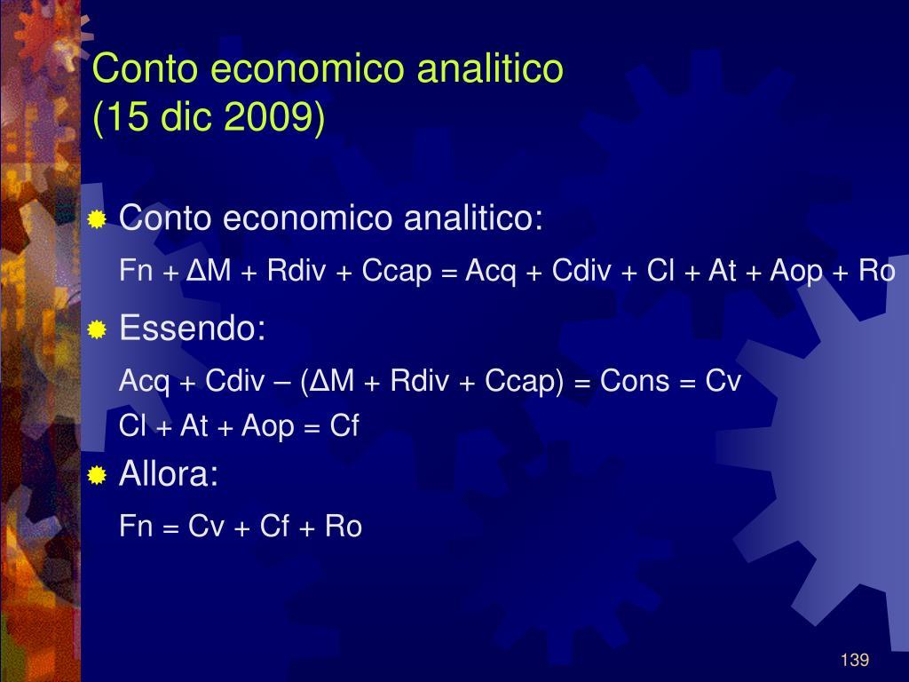 Conto economico analitico