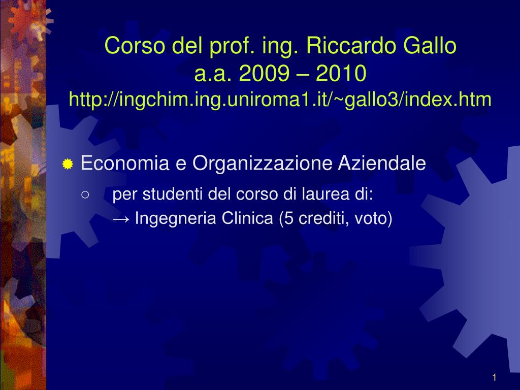 Corso del prof. ing. Riccardo Gallo