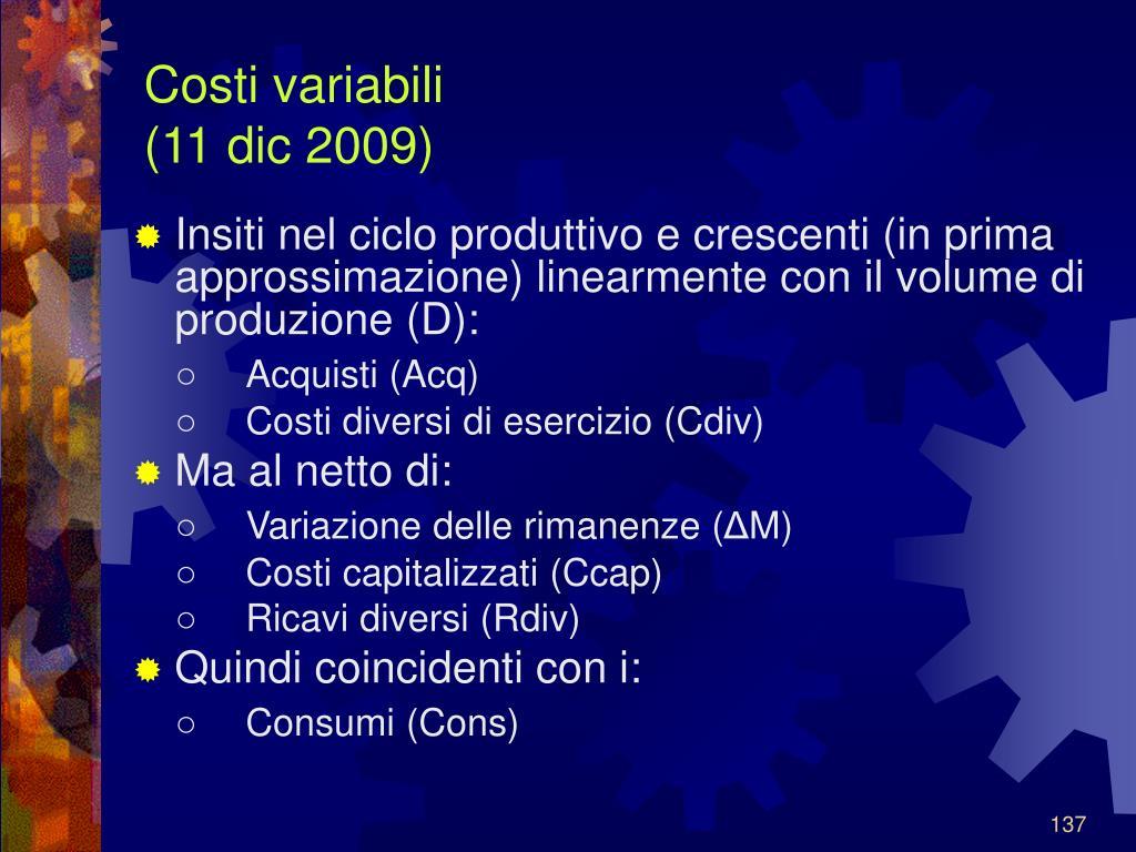 Costi variabili