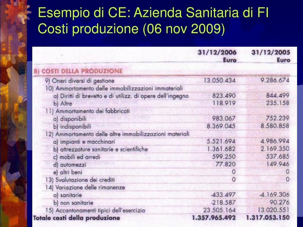 Esempio di CE: Azienda Sanitaria di FI