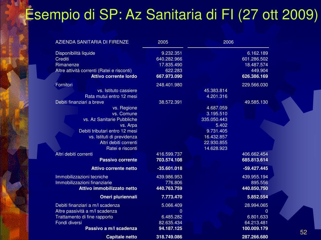 Esempio di SP: Az Sanitaria di FI (27 ott 2009)