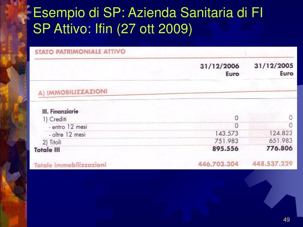 Esempio di SP: Azienda Sanitaria di FI