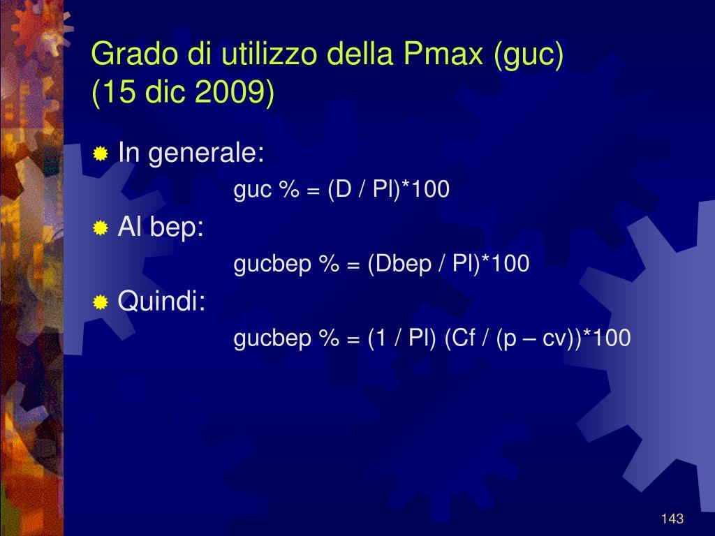 Grado di utilizzo della Pmax (guc)