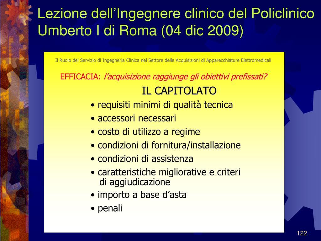 Lezione dell'Ingegnere clinico del Policlinico Umberto I di Roma (04 dic 2009)