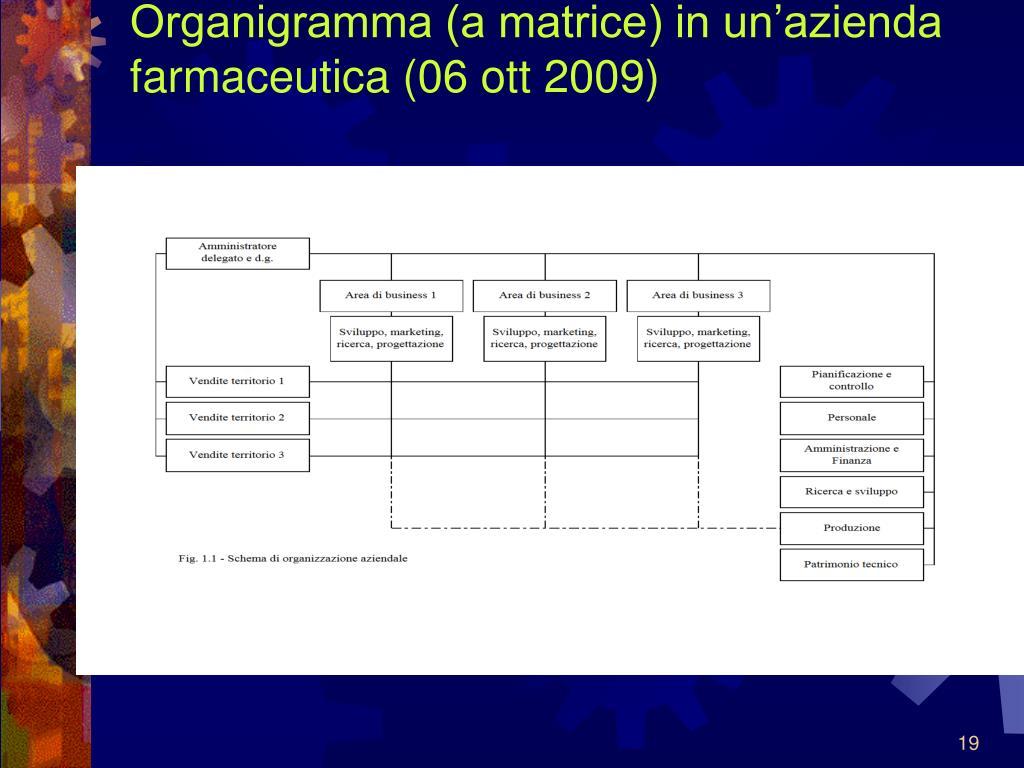 Organigramma (a matrice) in un'azienda farmaceutica (06 ott 2009)