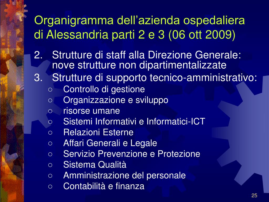 Organigramma dell'azienda ospedaliera di Alessandria parti 2 e 3 (06 ott 2009)