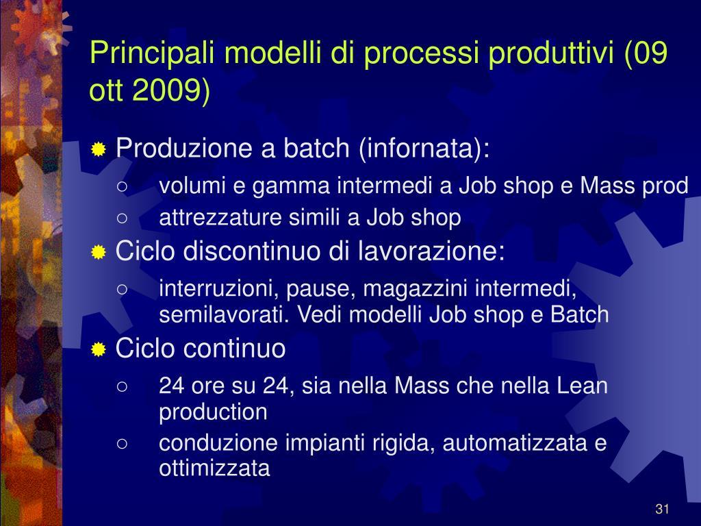Principali modelli di processi produttivi (09 ott 2009)