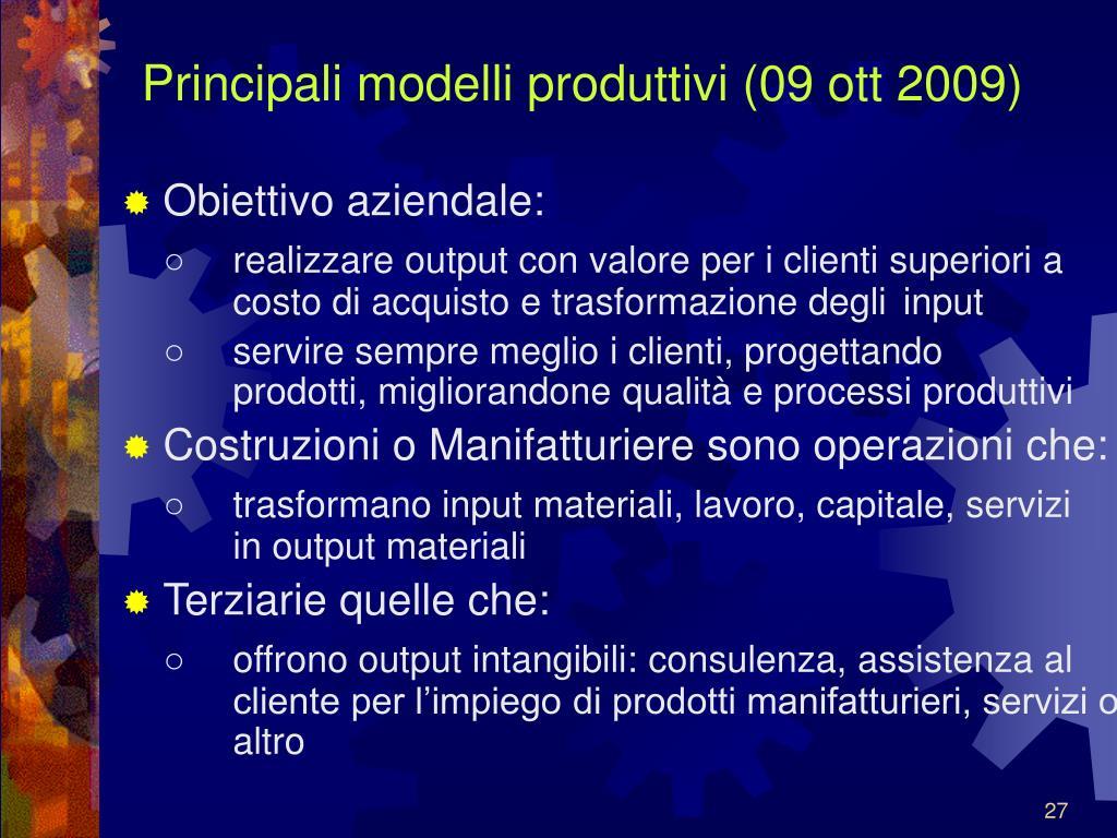 Principali modelli produttivi (09 ott 2009)
