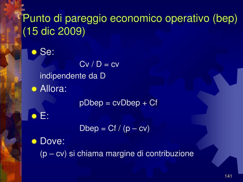 Punto di pareggio economico operativo (bep)