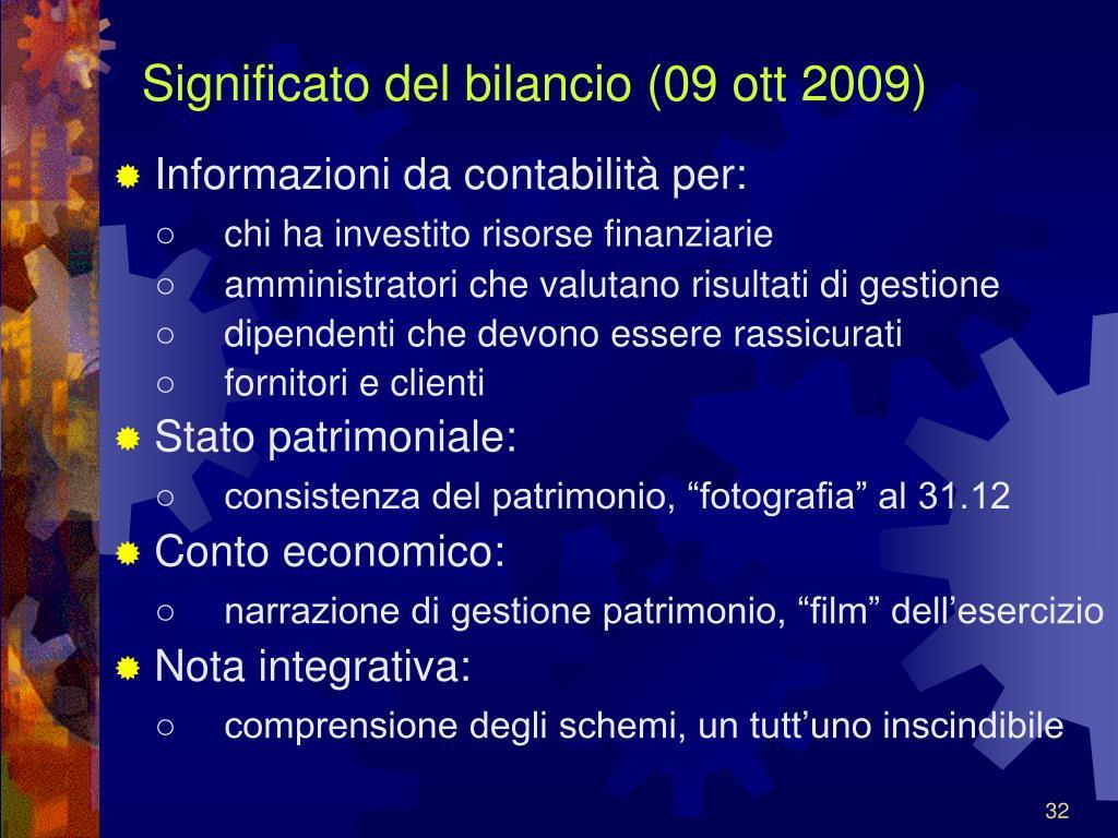 Significato del bilancio (09 ott 2009)