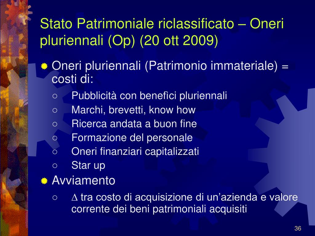 Stato Patrimoniale riclassificato – Oneri pluriennali (Op) (20 ott 2009)