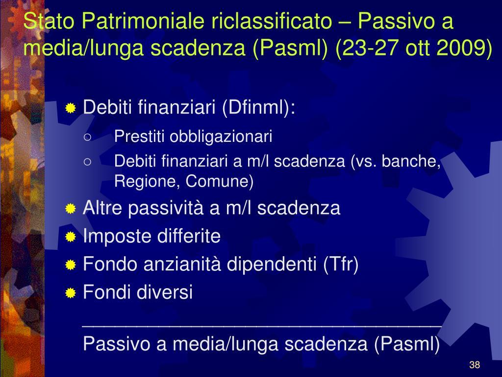 Stato Patrimoniale riclassificato – Passivo a media/lunga scadenza (Pasml) (23-27 ott 2009)