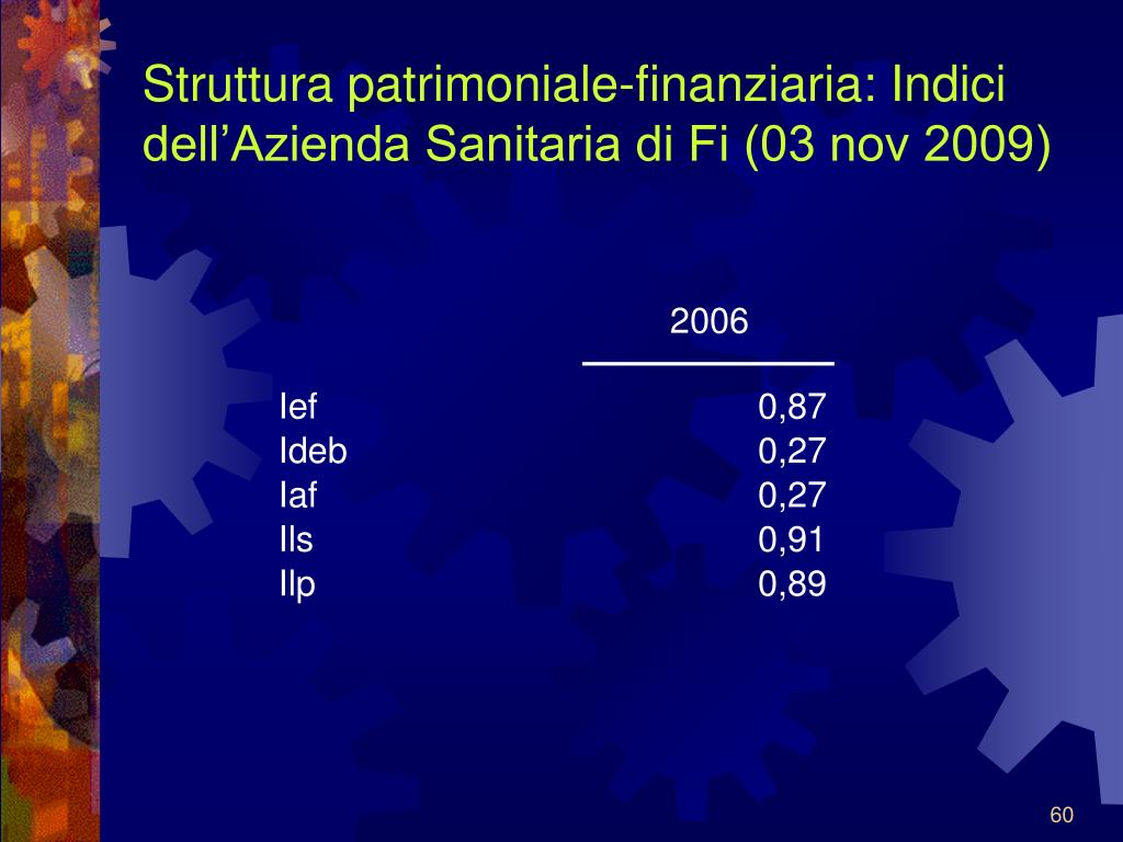 Struttura patrimoniale-finanziaria: Indici dell'Azienda Sanitaria di Fi (03 nov 2009)