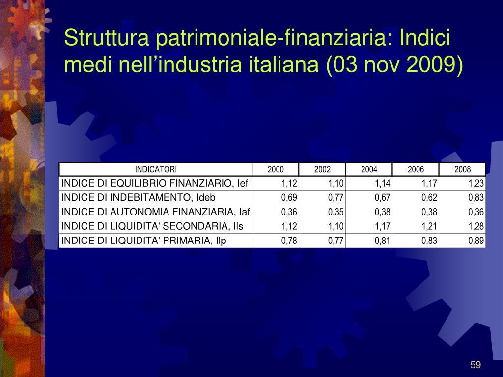 Struttura patrimoniale-finanziaria: Indici medi nell'industria italiana (03 nov 2009)