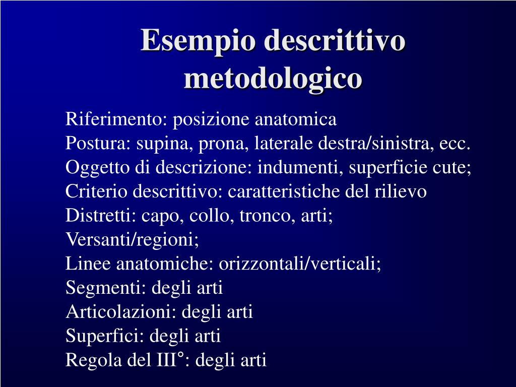 Esempio descrittivo metodologico