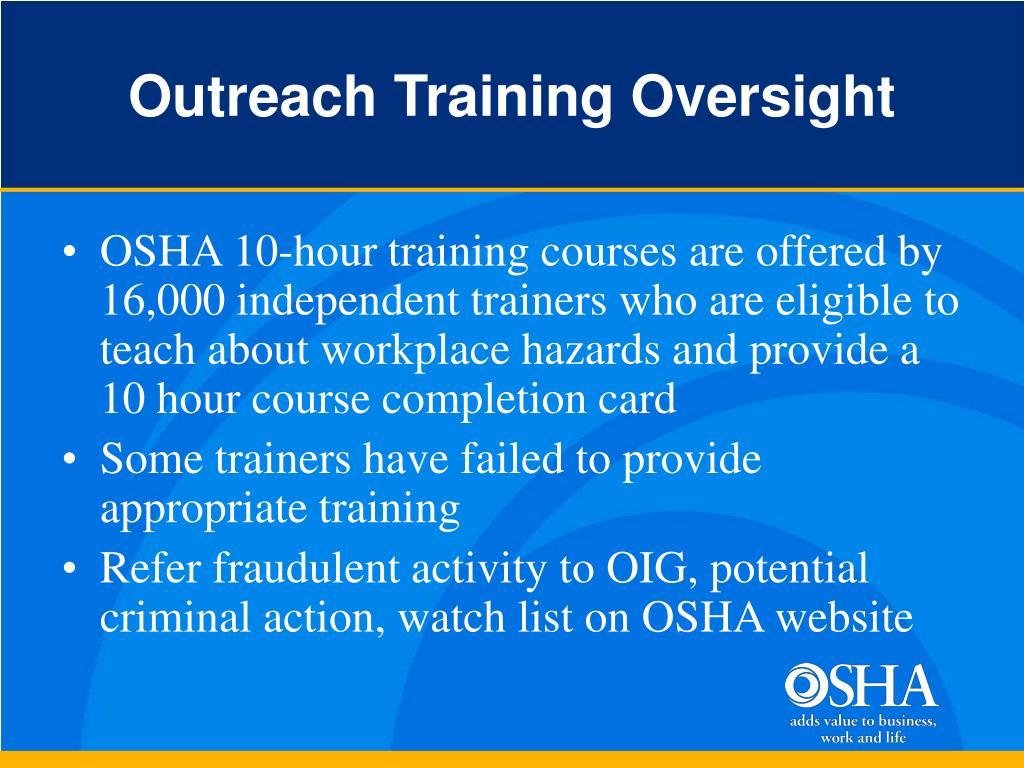 Outreach Training Oversight