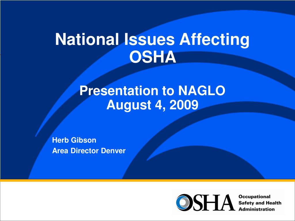 National Issues Affecting OSHA