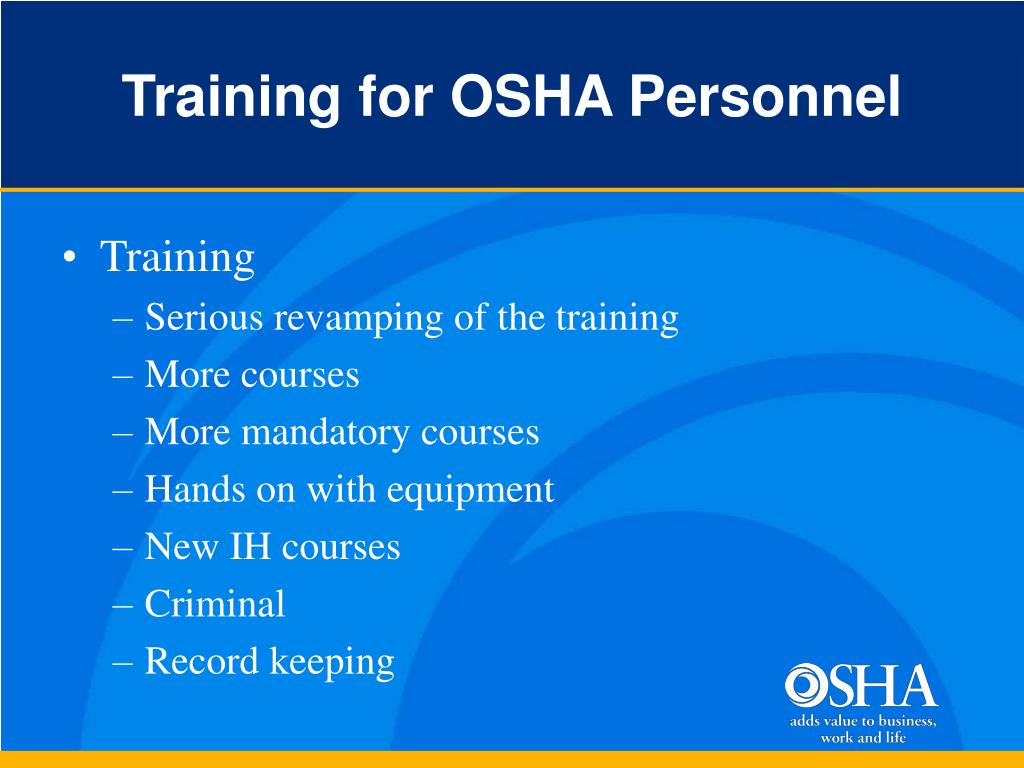 Training for OSHA Personnel