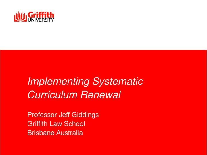 implementing systematic curriculum renewal n.