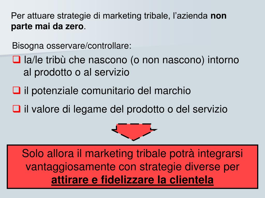 Per attuare strategie di marketing tribale, l'azienda
