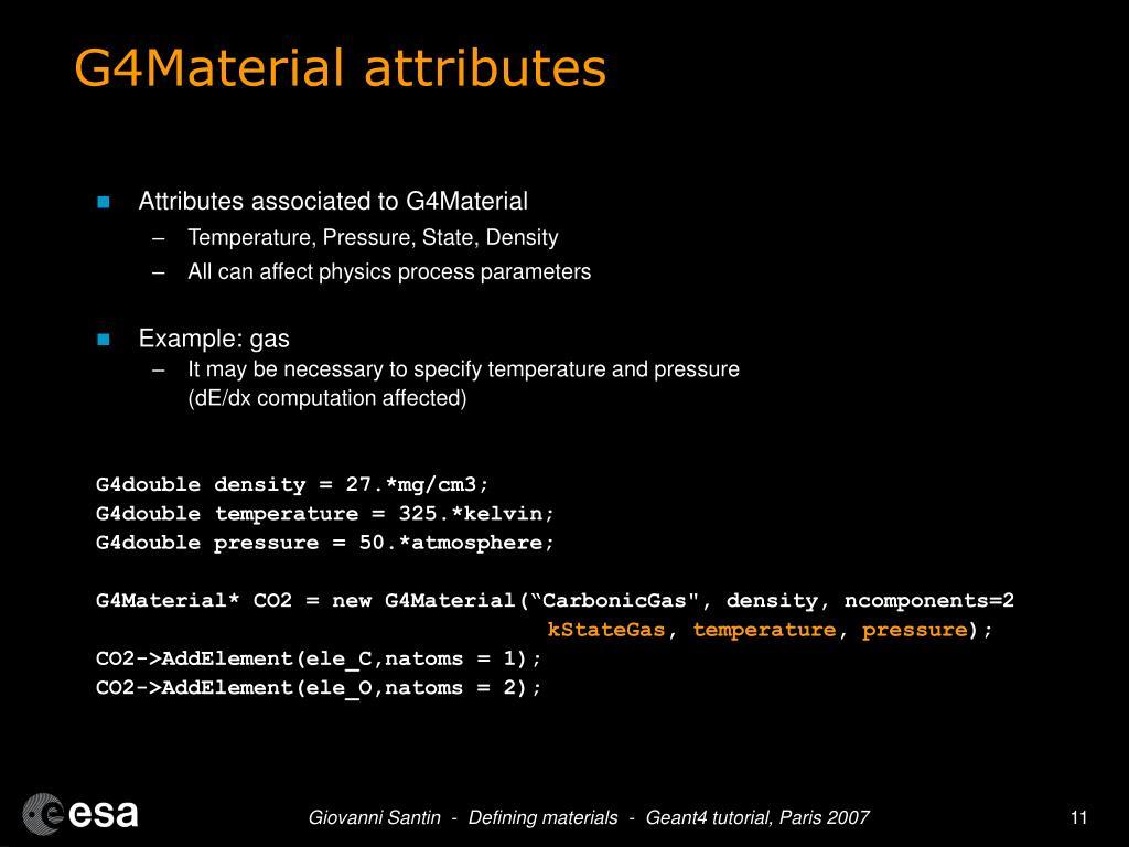 G4Material attributes