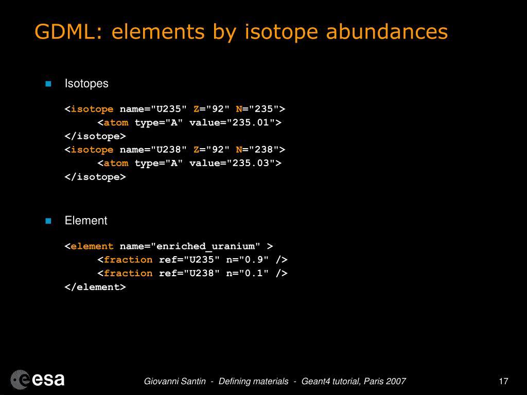 GDML: elements by isotope abundances